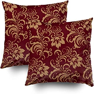 Musesh Christmas Pack of 2 Gold Floral Swirl Cushions Case Throw Pillow Cover for Sofa Home Decorative Pillowslip Gift Ideas Household Pillowcase Zippered Pillow Covers 16x16Inch