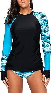 AlvaQ Women Long Sleeve Color Block Print Rash Guard Tankini Swimsuit(S-XXXL)