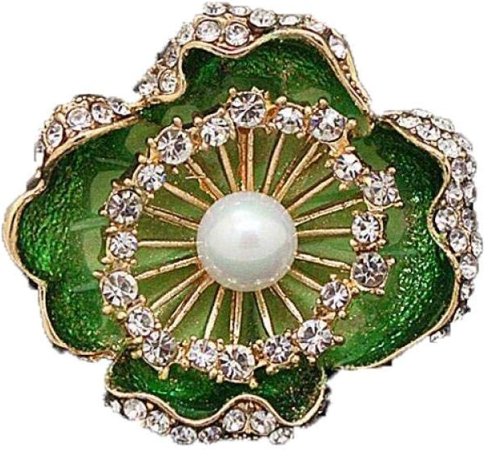 LWFYT Girls' Brooches & Pins Retro Hand Painted Enamel Imitation Pearl Magnolia Brooch Rhinestones Birthday Party Girls Needle Brooch Corsage Jewelry
