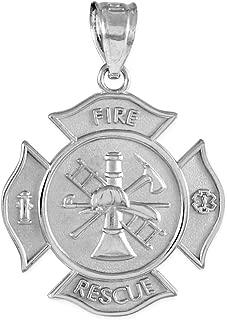 Sterling Silver Fire Rescue Maltese Cross Firefighter Badge Pendant