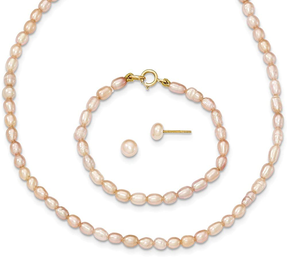 14k Yellow Gold Pink Freshwater Cultured Pearl 12 Chain Necklace 5 Bracelet Post Stud Earrings Set Pendant Charm Fine Jewelry For Women Gifts For Her