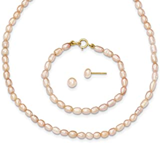 14ct Yellow Gold Spring Ring Post Earrings Pink Freshwater Cultured Pearl 12 In. Necklace Bracelet and Earrings Set