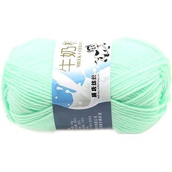 Suave Suave Leche de algodón natural de la mano de tejer lana de lana bola del hilado del bebé Craft-Agua Verde: Amazon.es: Hogar