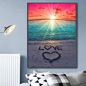 Full Drill DIY 5D Diamond Painting Kit, Paintings Pictures Arts Craft for Home Wall Decor Paint by Numbers,Love Beach