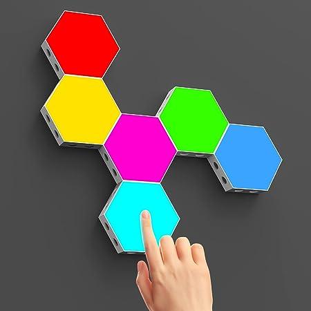 CoMokin Hexagon LED Licht, Berührungsempfindliche RGB Sechseck Lichter, Sechseckige LED Wandleuchten mit USB Strom, Spleißen von DIY Farbwechsel Gaming Lichtern, Schlafzimmerdekoration 6 Packs