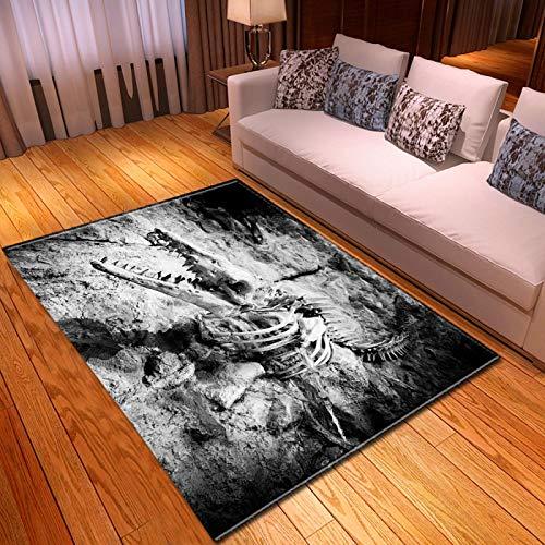 LGXINGLIyidian Casa Alfombra Serie Creativa del Cráneo del Demonio Oscuro Alfombra Suave Antideslizante De Decoración del Hogar De Impresión 3D T-2099K 80X150Cm
