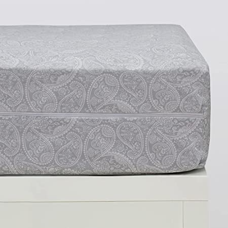 10XDIEZ Funda colchón Estampada Cashmere Gris | (135x190 cm. - Gris)