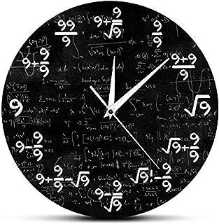 xushihanjjli Wall Clock for Living Room Number 9 Math Modern Watch Math Equation The of 9S Formulas Mathematical Art Silent Sports Stylish Modern Design Children's Room Home Decor Creative