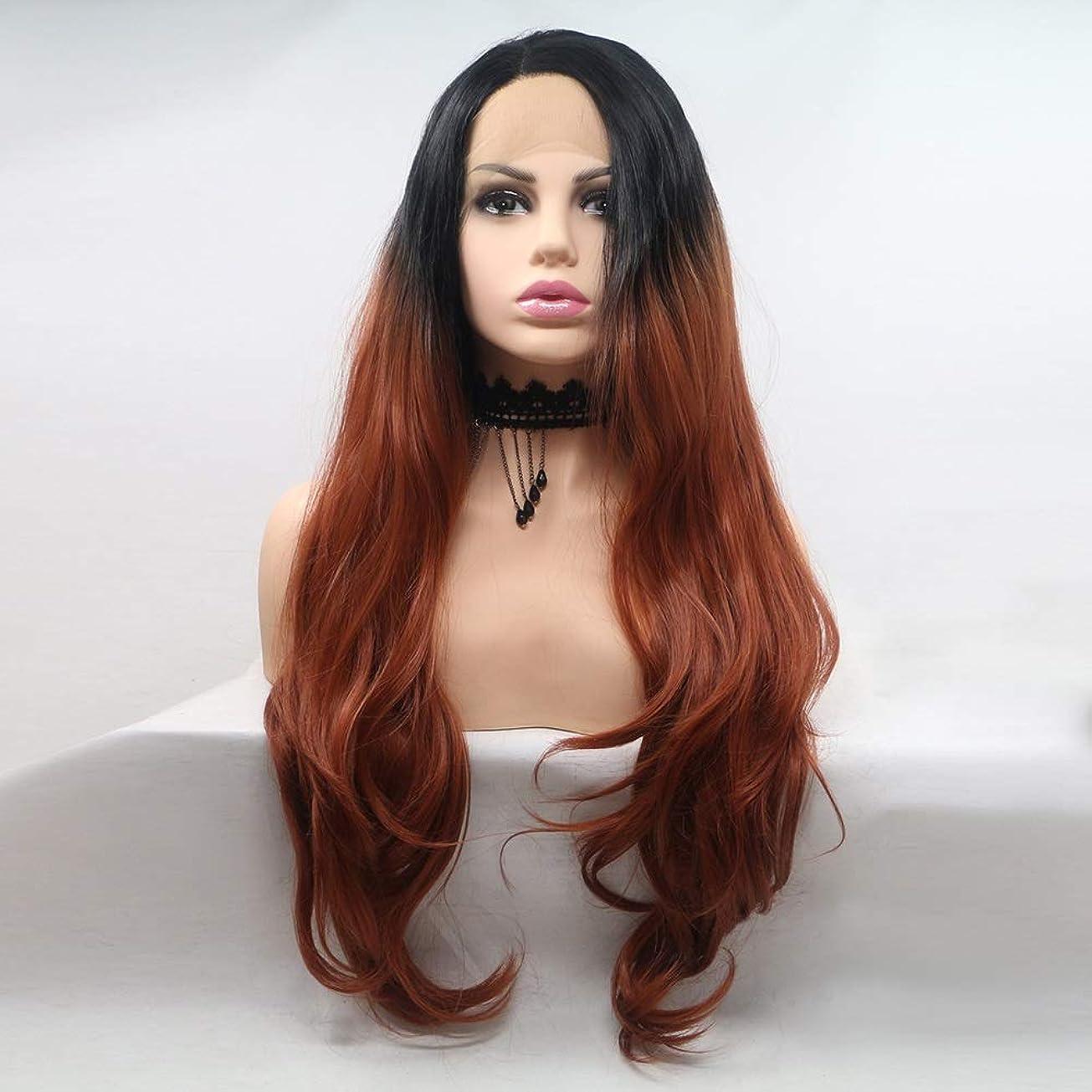 そっとオールマーカーZXF ヨーロッパとアメリカのかつらで染められた長い巻き毛の女性は、化学繊維かつらの髪のセットで髪に設定 - 黒 - 赤 - グラデーション - 長い髪 - 大きなウェーブのかかった髪 美しい
