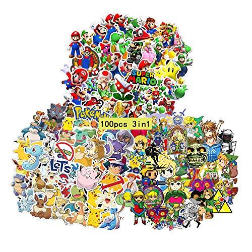 GTOTd Anime Videospiel Aufkleber(Beinhaltet Mario, Zelda, Pokemon Insgesamt 100 Stück gemischte Aufkleber) Merch Anime Geburtstagsfeier Zubehör für Wasserflasche Laptops, Skateboards Teens Girls
