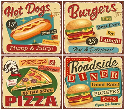 DIY 5D Diamant Malerei Kit Retro Fast Food Vintage Diner Schild Burger Restaurant 1950er Menü Metall 40,6 x 50,8 cm Erwachsene Kinder Full Drill Strass Kreuzstich Kunst Handwerk für Heimdekoration