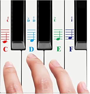 QMG Piano Stickers for All White Keys (49/61/76/88 Key Keyboards) – Transparent and Removable, Made in USA