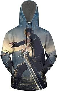 Unisex 3D Galaxy Hooded Sweatshirt Slim Final-Fantasy-Game-Poster- Wool Pullover Hoodie Cool Sweatshirts