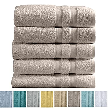 Great Bay Home 5-Pack Premium 100% Cotton Bath Towel Set (28 x 52 inch) Multipack For Home Spa Pool Gym Use. Quick-Drying and Extra Absorbent. Emelia Collection. (Silver Cloud)