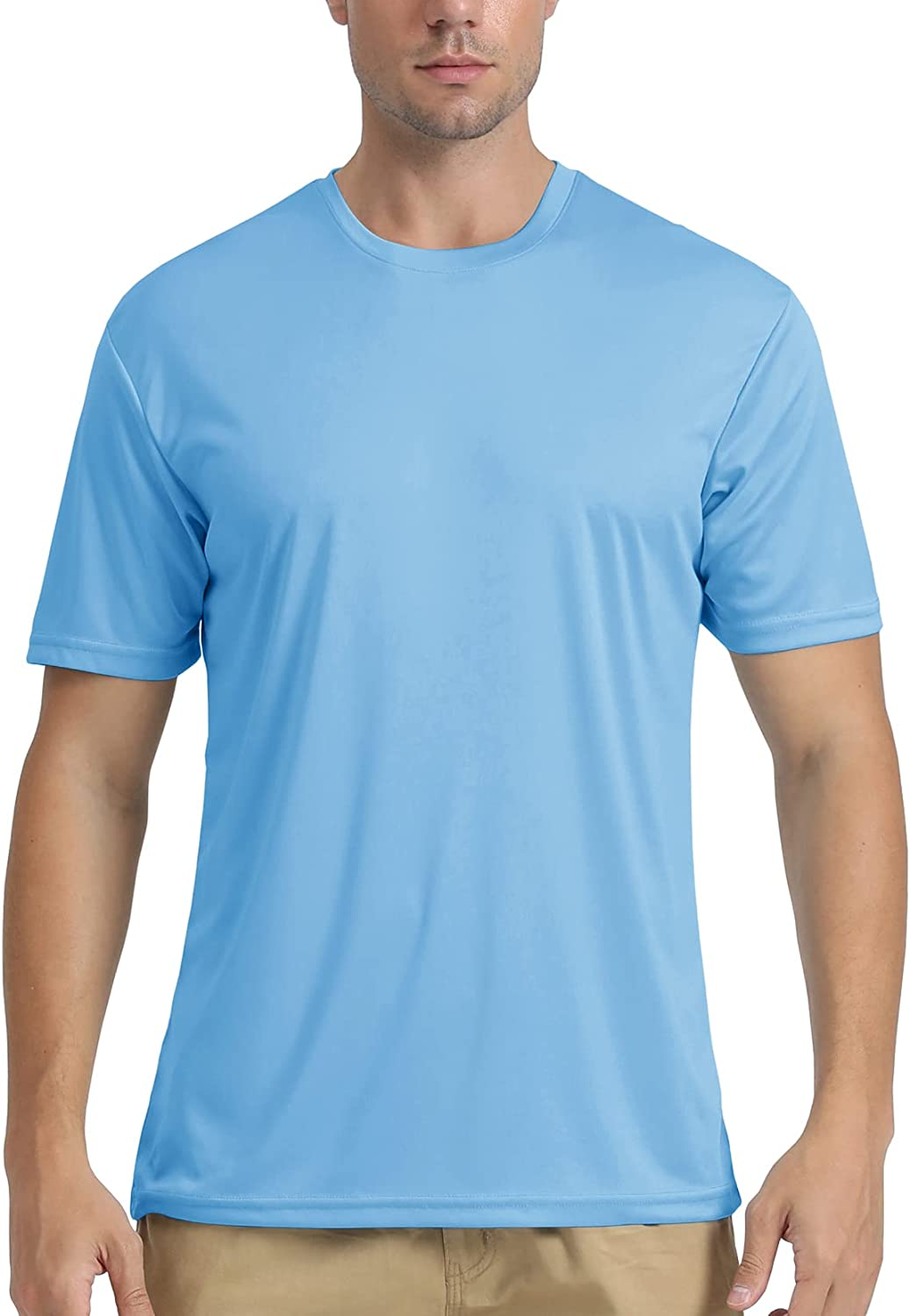 FASKUNOIE Men's UPF 50+ Sun Protection Athletic Short Sleeve Shirts Quick Dry Lightweight Top