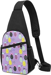 Mochila con patrón de piña, ligera, para el hombro, mochila para el pecho, bolsa cruzada, para viajes, senderismo, para ho...