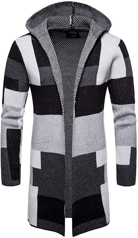 Mens Casual Cotton Hoodies Sweaters Color Block Mid Long Winter Coats Trench Pea Jackets Muscle Coats Outwear
