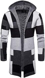 UJUNAOR Fashion Men's Hooded Solid Knit Patchwork Coat Jacket Cardigan Long Sleeve Tops Blouse