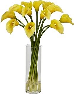 Nearly Natural 1187-YL Mini Calla Lily Silk Flower Arrangement, Yellow