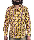 Comycom 70er Jahre Party Hemd Waves Violett 3XL