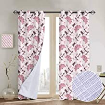 Vintage 100% blackout lining curtain Women Fashion Theme Old Fashioned Accessories Gloves Shoes Peacock Feather Earrings Full shading treatment kitchen insulation curtain W108 x L84 Inch Pale Pink