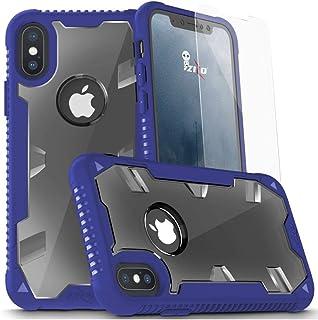 جراب iPhone X - جراب Zizo Proton 2.0 [اختبار السقوط من الدرجة العسكرية] w/ 0.3m 9H [واقي شاشة من الزجاج المقسى] (أزرق/شفاف)