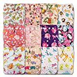 Littles & Bloomz, Reusable Pocket Cloth Nappy, Fastener: Popper, Set of 12, Patterns 1202, Without Insert