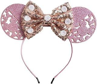 1 PC puntos de lentejuelas de Minnie Mouse Ears partido del arco Hairband bricolaje Hairwear Accesorios