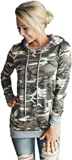 VECDY Damen Pullover,Räumungsverkauf- Herbst Damen Camouflage Printing Pocket Hoodie Sweatshirt mit Kapuze Pullover Tops Bluse Lässiger Sportpullover Herbst langes T-Shirt
