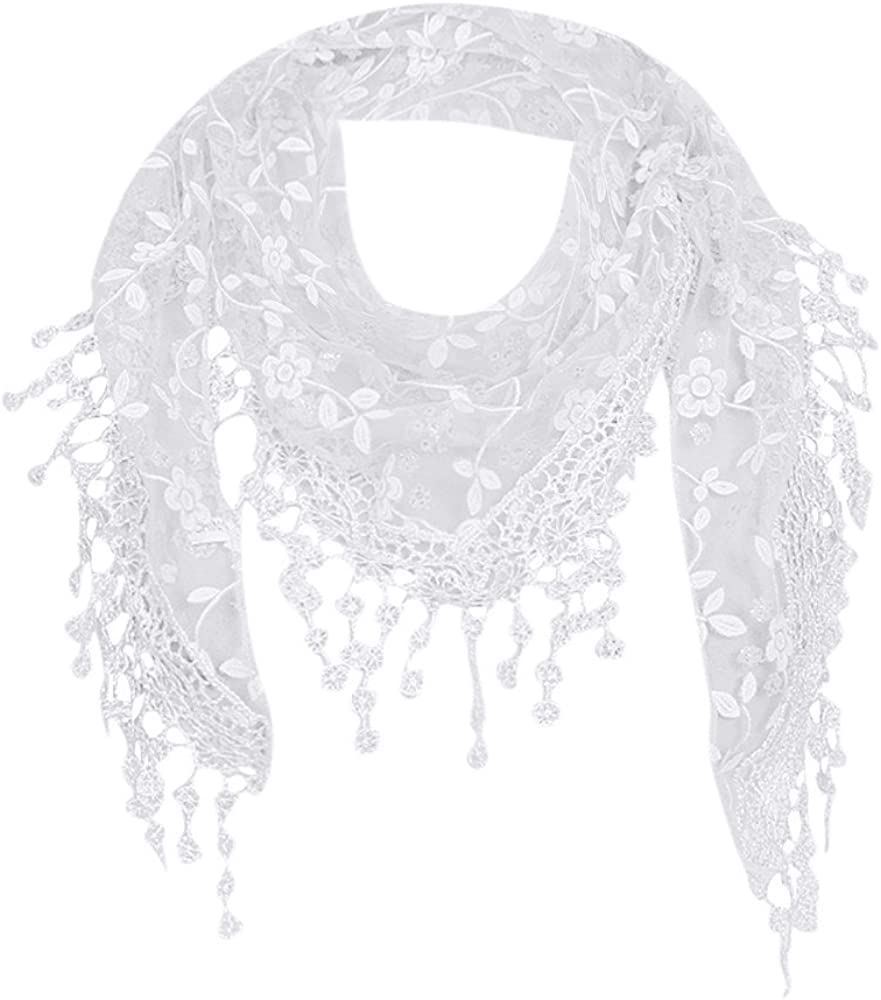 Jiusike Fashion Lace Sheer Openwork Tassel Scarf Shawl Crushed Flower Floral Print Mantilla Fringed Triangle Wraps