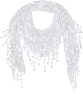 Sale Scarf !Fashion Chic Bohemia Lace Sheer Floral Shawl Wrap Ladies Elegant Tassel Triangle Scarves