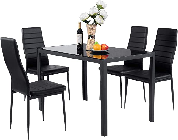 Giantex 5 Piece Kitchen Dining Table Set With Glass Table Top Leather Padded 4 Chairs And Metal Frame Table For Breakfast Dining Room Kitchen Furniture Black