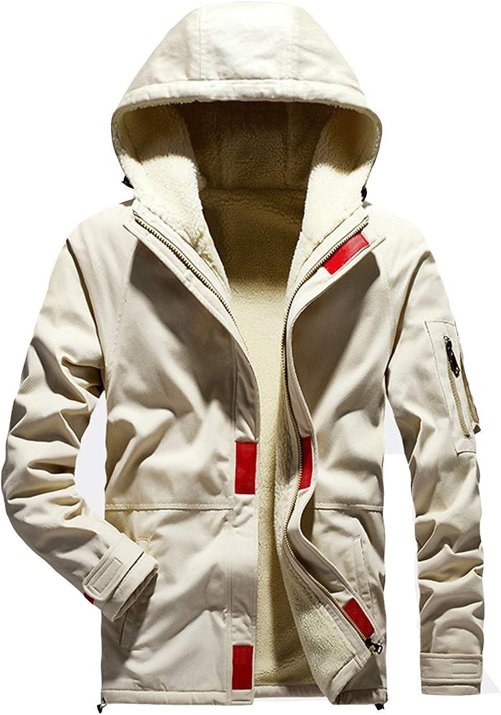 Haellun Men's Sherpa Lined Jacket Zip Up Hooded Sweatshirt Fleece Casual Outwear