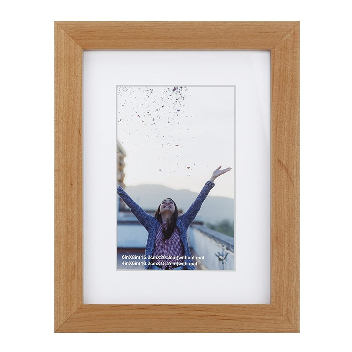 RPJC 6x8 Picture Frames Made of Solid Wood and High Definition Glass Display Pictures 4x6 with Mat or 6x8 Without Mat for Wall Mounting Photo Frame Natural