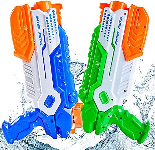 Yetech 2 Piezas Pistola de Agua Grande, Pistola de Agua de Juguete con 1200ML Pistolas de Agua Grande,Alcance de hasta 10 m,Adecuado para Niñas Niños Playa, Piscina, Verano Juguetes de Agua Juego