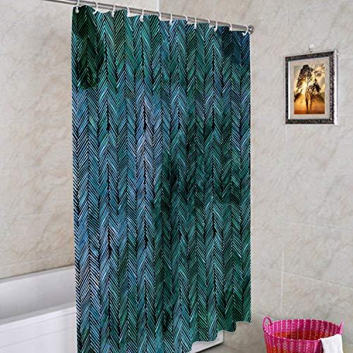 Batmerry Wasserfarbener, moderner Kunst, blauer dekorativer Duschvorhang, Batik, Chevron-Muster, bunt, Schönheit, klassischer lang, breit mit rostfrei, Badezimmer, wasserdicht, waschbar