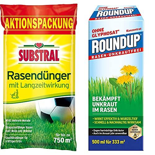Substral Rasendünger, mit Langzeitwirkung, 100 Tage Langzeitdüngung, 15 kg für 750 m² & Roundup Rasen-Unkrautfrei Konzentrat, Spezial-Unkrautvernichter zur Bekämpfung von Unkräutern, 500 ml für 330 m²