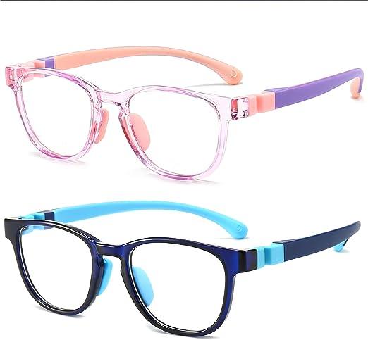 Blue Light Glasses for Kids 2 pack,Blue light blocking glasses For Girls & Boys, Kids Age 3-10,Anti Eyestrain & UV Protection