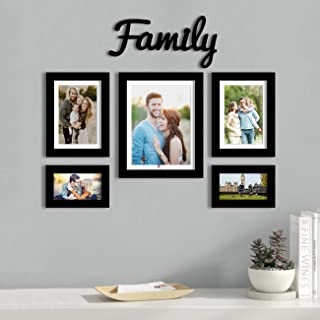 Art Street Set of 5 Individual Black Wall Photo Frames with Family MDF Plaque Free Hanging Accessories Included ||Mix Size...