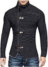 iLOOSKR Winter Fashion Men's Solid Stand Collar Warm Knitted Sweater Jacket Top Blouse