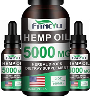 Hemp Oil Fancyli Extract for Pain & Stress Relief - 5000mg of Organic Hemp Extract - Grown & Made in USA - 100% Natural Hemp Drops - Good for Skin & Heart Health,Vegan Friendly