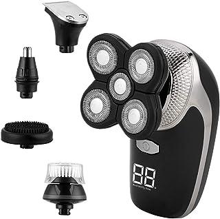 Afeitadora Eléctrica 5 en 1,CkeyiN Recortador de Barba Inalámbrico de Carga USB,Cortapelos Hombre- Con Pantalla,Para Vello...