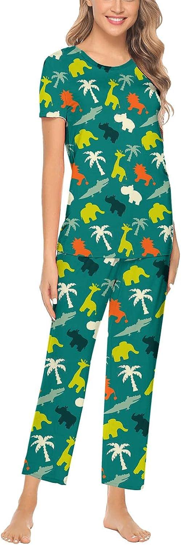 Cute Big Elephant Women Pajama Sets Long Sleeve Tops & Pants Soft Round Collar 2pcs Printed Sleepwear XS-XXL