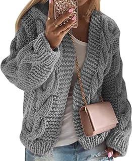 MUCHAO Cárdigans para Mujer Suéter Jerséis Hilo Más Grueso Otoño Invierno Prendas De Punto Cárdigan De Punto Retorcido Sud...