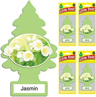 Little Trees Car Air Freshener | Hanging Tree Provides Long Lasting Scent for Auto or Home | Jasmin, 6-Packs (4 Count)