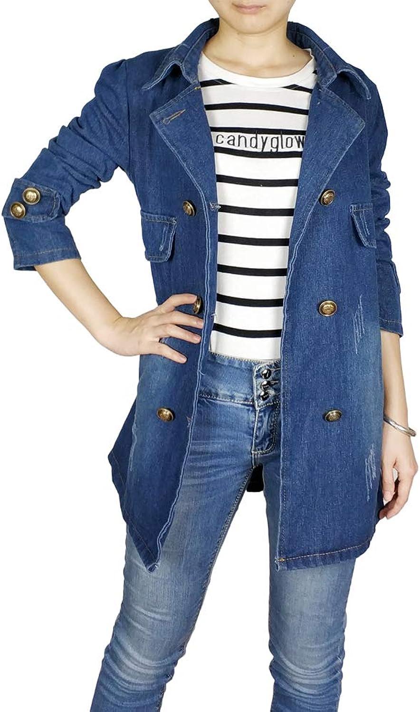 Kaachli Women's Cotton Denim bluee Notch Lapel Coat Double Breasted Outerwear Jackets