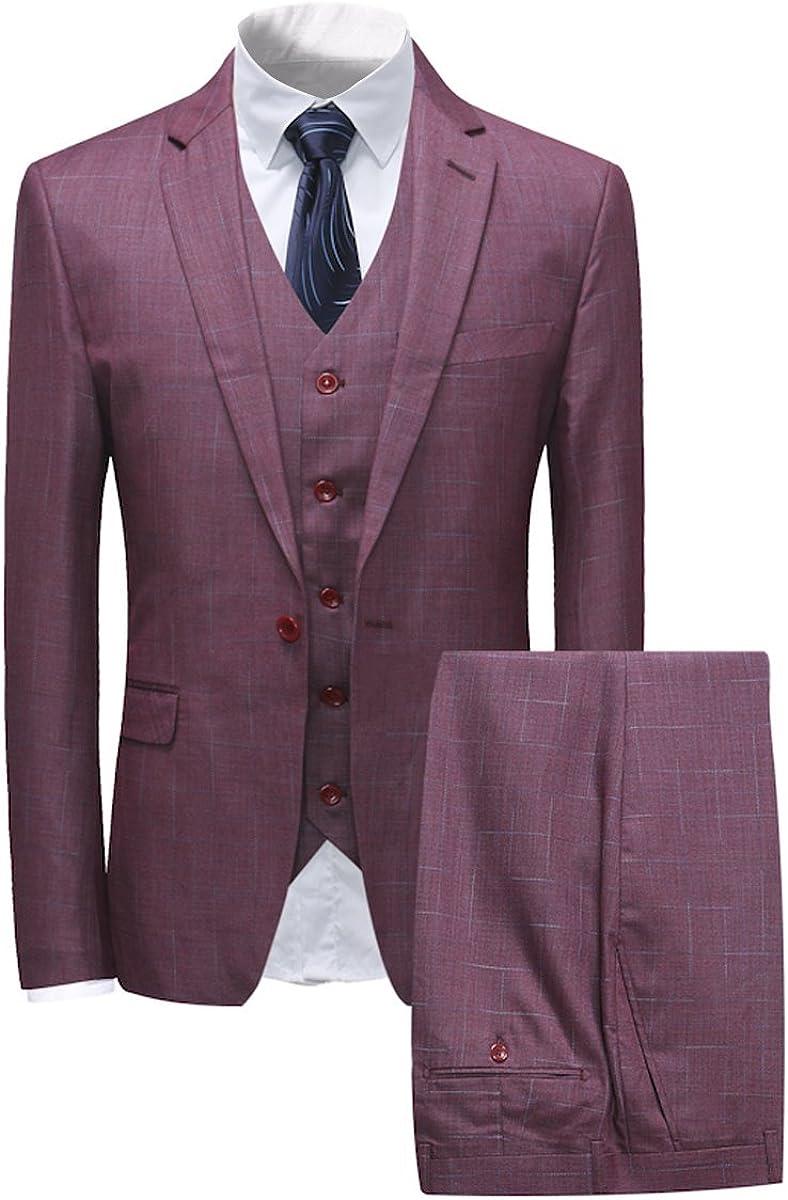 Boyland Men's 3 Pieces Plaid Suits Slim Fit Notched Lapel One Button Blazer Vest Trousers Gentle Business