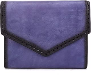 IVTG Genuine Leather Trifold Wallets for Women Vintage Handmade Small Purse (Purple)