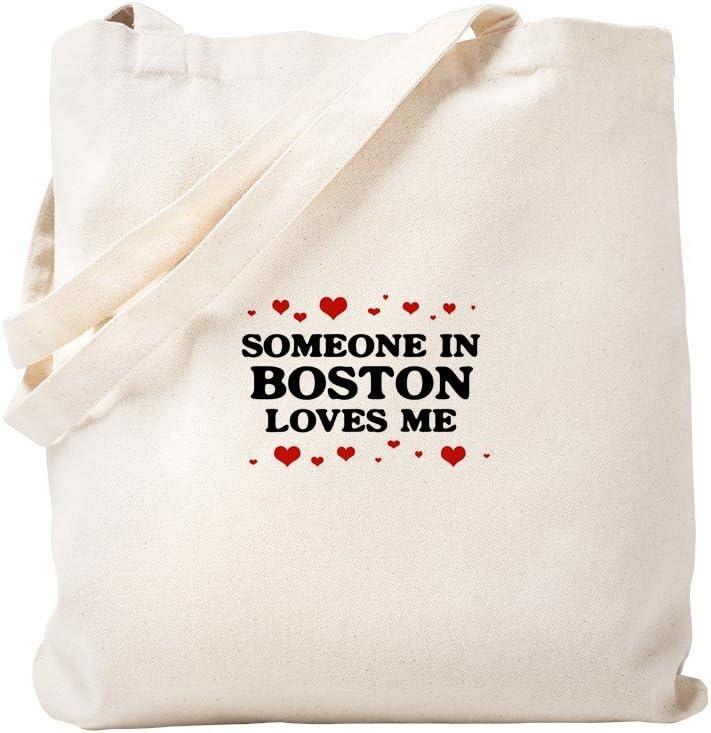CafePress Loves Me In Boston Tote Bag Natural Canvas Tote Bag, Reusable Shopping Bag