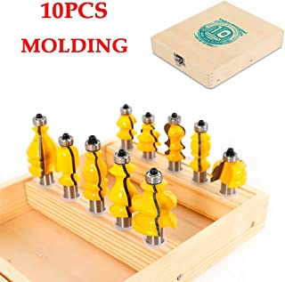 Molding Router Bit Set 10PCS 1/2 Inch Shank Carbide Molding Handrail Router Bits Architectural Specialty Woodwork Milling Trimming Groving Cutter Tool for Carbide Doors Tables Shelves DIY Woodwork
